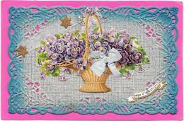 Cpa Dentelée, Gaufrée, Découpis De Panier De Violettes. Superbe - Fancy Cards