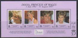South Georgia 1998 Princess Diana M/s ** Mnh (39501C) - Zuid-Georgia