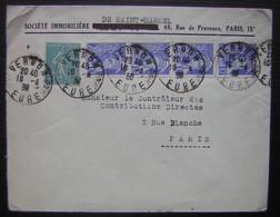 1938 Vernon (Eure) Société Immobilière De Saint Marcel Affranchie Avec Une Bande De 4 Mercure + 1 Semeuse - Storia Postale