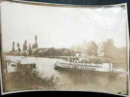 76 LA BOUILLE ROUEN PHOTO ORIGINALE BATEAU DE PLAISANCE VERS 1900 18 X 13 CM - Lieux