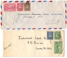 Haiti 1949 2 Airmail Covers Port-au-Prince To Scranton, PA W/ Expo Handstamps - Haiti