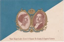 POSTCARD PORTUGAL - MONARQUIA - ROYAL FAMILIE - S. M. EL REI D. MANUEL II E RAINHA D. AUGUSTA DE VICTÓRIA - Familles Royales