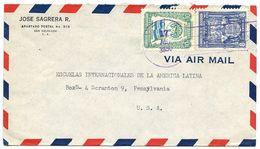 El Salvador 1950 Airmail Cover San Salvador To U.S. W/ Scott 614 & C126 - El Salvador