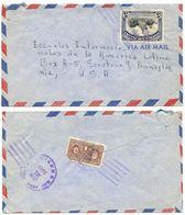 Panama 1949 Airmail Cover To U.S. W/ Scott C105 Cervantes & RA30 Curie - Panama