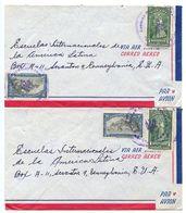 Panama 1950 2 Airmail Covers Puerto Armuelles To U.S. W/ Scott 343 & 345 - Panama