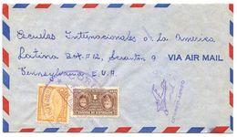 Panama 1949 Airmail Cover To U.S. W/ Scott C112 Map & RA30 Curie - Panama