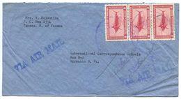Panama 1949 Airmail Cover To U.S. W/ Scott C96 Swordfish X 3 - Panama