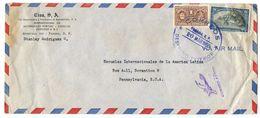 Panama 1950 Airmail Cover To U.S. W/ Scott 345 Balboa & RA30 Curie - Panama