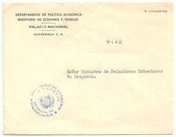 Guatemala 1950's Official Cover Ministerio De Economia Y Trabajo - Guatemala