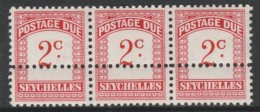 803904 Seychelles 1964-65 Postage Due 2c Red & Carmine Wmk Block CA Strip Of 3 With Additional Row Of Horizontal Per - Seychelles (...-1976)