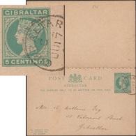 Gibraltar 1890 Entier Postal, Carte Avec Réponse Payée. Timbres à 5 Centimos Victoria. Carte Demande Envoyée Localement - Gibraltar