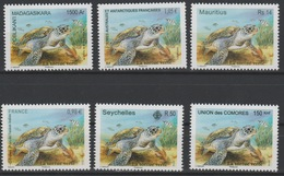 La Tortue Verte Green Turtle Schildkröte 2014 Joint Issue Faune Fauna Madagascar Seychelles France Comores MNH 6 Val. ** - Mauritius (1968-...)