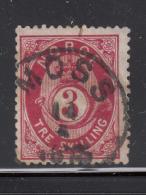 Norway 1872-75 Used Scott #18 3s Post Horn And Crown UL Inner Frame Broken - Norvège