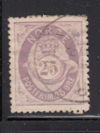 Norway 1877-78 Used Scott #28 25s Post Horn And Crown Hinge Remnant - Norvège