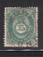 Norway 1877-78 Used Scott #29 35s Post Horn And Crown - Norvège