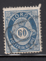 Norway 1877-78 Used Scott #31 60s Post Horn And Crown Cancel: Block/bar - Norvège