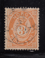 Norway 1882-93 Used Scott #38 3s Post Horn 21mm  Inner Oval Break Under N Of NORGE - Norvège
