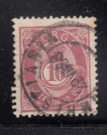 Norway 1882-93 Used Scott #40 10s Post Horn 20mm No Stop After M, Break UL Wheel - Norvège