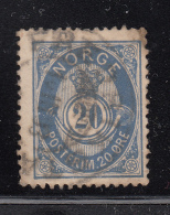 Norway 1882-93 Used Scott #44a 20s Post Horn 20mm Plate I - Norvège