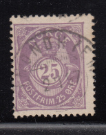 Norway 1882-93 Used Scott #45 25s Post Horn 20mm Small '5' Has Short Top - Norvège