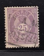 Norway 1882-93 Used Scott #45 25s Post Horn 20mm Small '5' Cancel: Block/bar - Norvège