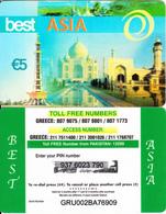 GREECE - Tajmahal, Best Asia Prepaid Card 5 Euro(807 9075), Used - Greece