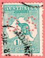 "AUS SC #OB10 U 1914 Official / 1sh Small ""OS"" W/perf Flts CV $30.00 - Perfins"