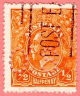 "AUS SC #OB20 U 1914 Official / 1/2p Small ""OS"" WMK 9 W/perf Flts CV $13.00 - Perfins"