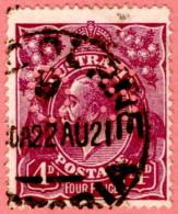 """AUS SC #OB32 U 1914 Official / 4p Small """"OS"""" WMK 9 """"22AU21"""" CV $17.50 - Perfins"""