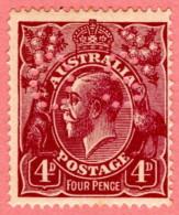 """AUS SC #OB32 U 1914 Official / 4p Small """"OS"""" WMK 9  CV $17.50 - Perfins"""