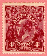 "AUS SC #OB32 U 1914 Official / 4p Small ""OS"" WMK 9  CV $17.50 - Perfin"