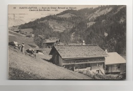 Nan0025 RARE CPA HAUTE SAVOIE : Route Du Grand Bornand Au Reposoir - Chalets De Bois-Bercher - Francia