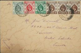 O) 1914 HONG KONG, KING GEORGE VI . SCOTT A13 $3 VIOLET GREEN-SCT A12 4c CARMINE- SCT A11 2c DEEP GREEN  -SCT A11 1c BRO - Hong Kong (1997-...)