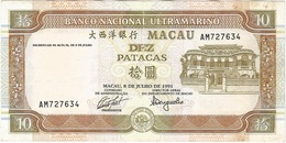 Macao 10 Patacas 8-7-1991 Pick 65a Ref 1791 - Macao