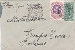 ITALIEN 1942 - 50 Cent + 1,25 L Espresso Auf Brief Gel.v. Farli? > Campo Tures Bolzano - 1900-44 Victor Emmanuel III.