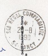 1990--cachet Rond  Service Regional De Comptabilité De NANCY-54  Sur Carte Postale - Marcophilie (Lettres)