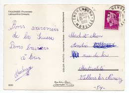 1968--cachet Manuel   ENCHENBERG - 57 Type Marianne Cheffer   Sur Carte Postale  FAULENSEE (Thunersee) - Marcophilie (Lettres)