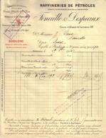 GIRONDE - BORDEAUX - BEGLES - RAFFINERIES DE PETROLES , SAXOLEINE - FENAILLE & DESPEAUX - FACTURE + MANDAT - 1910 - France