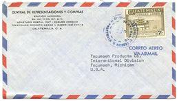 Guatemala 1960's Airmail Cover To Tecumseh MI W/ Scott C282A Engineering School - Guatemala