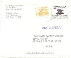 Guatemala 1990's Airmail Cover To St. Clair Shores MI W/ Scott 449 & 455 - Guatemala