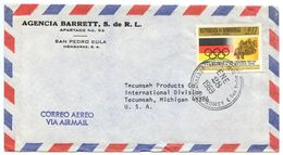 Honduras 1969 Airmail Cover San Pedro Sula To Tecumseh MI W/ Scott C433 Olympics - Honduras