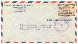 Honduras 1960 Airmail Cover San Pedro Sula To U.S. W/ Scott C294 Lincoln Memorial - Honduras