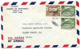 Peru 1949 Airmail Cover Puno To Clarks Summit PA W/ Scott C52 & C76 - Peru