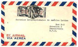 Peru 1950 Airmail Cover To U.S. W/ Scott C84 Highway & Railroad Passing, Pair - Peru