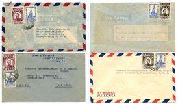 Peru 1949-50 4 Airmail Covers To U.S. W/ Scott 381, 430, 434 - Peru