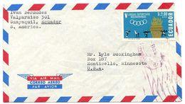 Ecuador 1965 Airmail Cover Guayaquil To Monticello MN W/ Scott C435 Sports - Ecuador