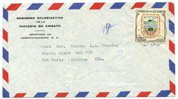 Ecuador 1962 Airmail Cover Ambato To Fort Wayne IN W/ Scott C395 Arms - Ecuador