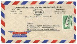 Ecuador 1950's Airmail Cover Quito To Philadelphia PA W/ Scott C266 San Pablo Lagoon - Ecuador