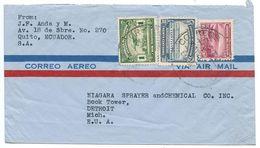 Ecuador 1940's Airmail Cover Quito To Detroit MI W/ Scott 329A, 439, C27 - Ecuador