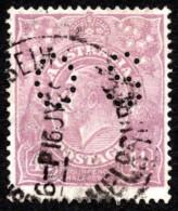 """AUS SC #OB35 U 1914 Official / 4 1/2p Small """"OS"""" WMK 9 CV $16.00 - Perfins"""